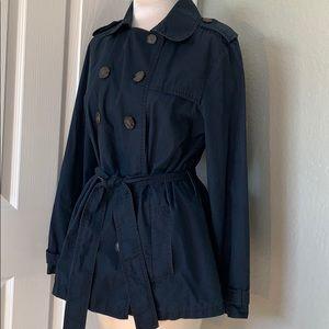 Gap Double Breasted Self Tie Waist Navy Rain Coat